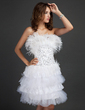 A-Line/Princess Scalloped Neck Knee-Length Tulle Cocktail Dress With Lace Beading Feather Sequins Cascading Ruffles (016015336)