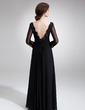 A-Line/Princess V-neck Floor-Length Chiffon Mother of the Bride Dress With Ruffle Lace Beading (008005948)