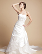 A-Line/Princess Sweetheart Royal Train Satin Wedding Dress With Ruffle Appliques Lace (002004592)