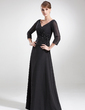 A-Line/Princess V-neck Floor-Length Chiffon Mother of the Bride Dress With Ruffle Beading (008006180)