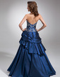Ball-Gown Sweetheart Floor-Length Taffeta Quinceanera Dress With Embroidered Beading Cascading Ruffles (021004555)