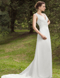 A-Line/Princess V-neck Court Train Chiffon Wedding Dress With Ruffle Beading Sequins (002001678)