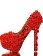 Women's Real Leather Stiletto Heel Closed Toe Platform Pumps With Rhinestone Satin Flower (047054789)