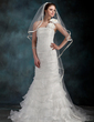 Trumpet/Mermaid One-Shoulder Court Train Organza Wedding Dress With Flower(s) Cascading Ruffles (002000626)
