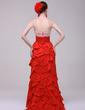 Empire Sweetheart Sweep Train Taffeta Evening Dress With Lace Beading Cascading Ruffles Pleated (017016168)