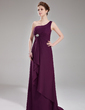 A-Line/Princess One-Shoulder Sweep Train Chiffon Bridesmaid Dress With Crystal Brooch Cascading Ruffles (007004139)