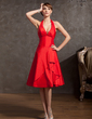 A-Line/Princess Halter Knee-Length Taffeta Homecoming Dress With Cascading Ruffles (022014892)
