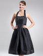 A-Line/Princess Halter Knee-Length Taffeta Bridesmaid Dress With Ruffle Bow(s) (022021137)
