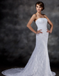 Trumpet/Mermaid Sweetheart Chapel Train Lace Wedding Dress (002000513)