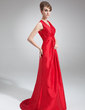 A-Line/Princess V-neck Sweep Train Taffeta Bridesmaid Dress With Ruffle (007004301)