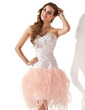 A-Line/Princess Sweetheart Knee-Length Organza Homecoming Dress With Beading Cascading Ruffles (022020798)