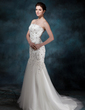Trumpet/Mermaid Strapless Court Train Tulle Wedding Dress With Lace Beading (002004512)