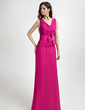 A-Line/Princess V-neck Floor-Length Chiffon Bridesmaid Dress With Ruffle Beading Flower(s) (008015809)