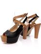 Suni deri Kalın Topuk Sandalet Platform Ile Toka ayakkabı (087015208)