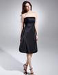 Çan/Prenses Askısız Diz Hizası Taffeta Mezunlar Gecesi Elbisesi Ile Büzgü (022015614)