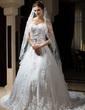 One-tier Chapel Bridal Veils With Lace Applique Edge (006034317)