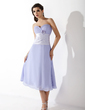 A-Line/Princess Sweetheart Tea-Length Chiffon Bridesmaid Dress With Ruffle Flower(s) (007001745)
