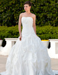 Ball-Gown Strapless Chapel Train Taffeta Wedding Dress With Ruffle Lace Beading (002000496)