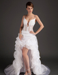 A-Line/Princess V-neck Asymmetrical Organza Prom Dress With Lace (018015507)