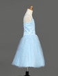 A-Line/Princess Tea-length Flower Girl Dress - Satin/Tulle Sleeveless With Ruffles/Sequins (010005913)