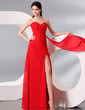 Sheath/Column Sweetheart Floor-Length Chiffon Evening Dress With Ruffle Split Front (017013998)