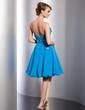 Yüksek Bel Kalp Kesimli Diz Hizası Chiffon Mezunlar Gecesi Elbisesi Ile Büzgü Çiçek(ler) Pullarda (022014798)