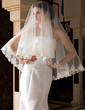 One-tier Fingertip Bridal Veils With Lace Applique Edge (006036661)