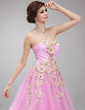 Ball-Gown Sweetheart Floor-Length Tulle Quinceanera Dress With Ruffle Beading Appliques Lace (021018810)
