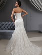 Trumpet/Mermaid Strapless Court Train Lace Wedding Dress With Beading Sequins (002022655)