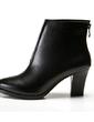 Suni deri Külah Topuk Pompalar Ayak bileği Boots Ile Fermuar Yivli Conta ayakkabı (088057371)