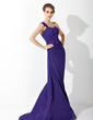 A-Line/Princess One-Shoulder Sweep Train Chiffon Mother of the Bride Dress With Ruffle Lace Beading Sequins (008003499)