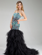 Trumpet/Mermaid Sweetheart Court Train Tulle Prom Dress With Beading Cascading Ruffles (018018829)