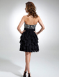 A-Line/Princess Sweetheart Knee-Length Chiffon Cocktail Dress With Beading Cascading Ruffles (016016334)