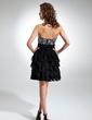 A-Line/Princess Sweetheart Knee-Length Chiffon Cocktail Dress With Beading Cascading Ruffles (016016334)