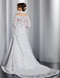 A-Line/Princess Halter Court Train Satin Wedding Dress With Ruffle Beading (002014807)