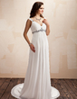 A-Line/Princess V-neck Court Train Chiffon Wedding Dress With Ruffle Beading (002011498)