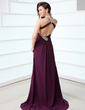 A-Line/Princess One-Shoulder Sweep Train Chiffon Prom Dress With Ruffle Beading Split Front (018017348)