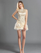 A-Line/Princess Scoop Neck Short/Mini Charmeuse Feather Cocktail Dress With Beading (016019128)