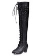 Suni deri Kalın Topuk Kapalı Toe Bot Diz Yüksek Boots Ile Toka Örgülü Askı ayakkabı (088057545)