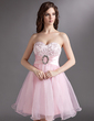 Empire Sweetheart Knee-Length Organza Homecoming Dress With Lace Beading Sequins Bow(s) (022010791)