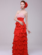 Empire Sweetheart Sweep Train Taffeta Evening Dress With Lace Beading Cascading Ruffles Pleated (017016168)