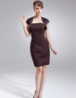 Sheath/Column Strapless Knee-Length Satin Bridesmaid Dress (007000871)