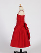 A-Line/Princess Tea-length Flower Girl Dress - Taffeta Sleeveless Straps With Ruffles/Bow(s) (010016210)