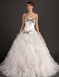 Ball-Gown Strapless Chapel Train Organza Wedding Dress With Beading Bow(s) Cascading Ruffles (002015534)