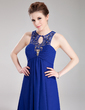 Empire Scoop Neck Floor-Length Chiffon Evening Dress With Ruffle Lace Beading (017019757)