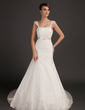 Trumpet/Mermaid Chapel Train Lace Wedding Dress With Sash Bow(s) (002015559)