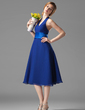 A-Line/Princess Halter Knee-Length Chiffon Bridesmaid Dress With Ruffle (007001804)