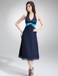 A-Line/Princess Halter Tea-Length Chiffon Satin Bridesmaid Dress With Sash Beading (007000996)
