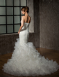 Trumpet/Mermaid Sweetheart Chapel Train Organza Wedding Dress With Beading Appliques Lace Cascading Ruffles (002000591)