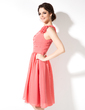 A-Line/Princess One-Shoulder Knee-Length Chiffon Bridesmaid Dress With Ruffle Flower(s) (007004220)
